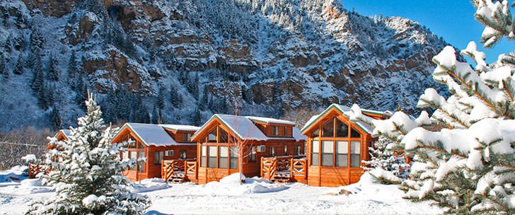 snow-covered resort cabins